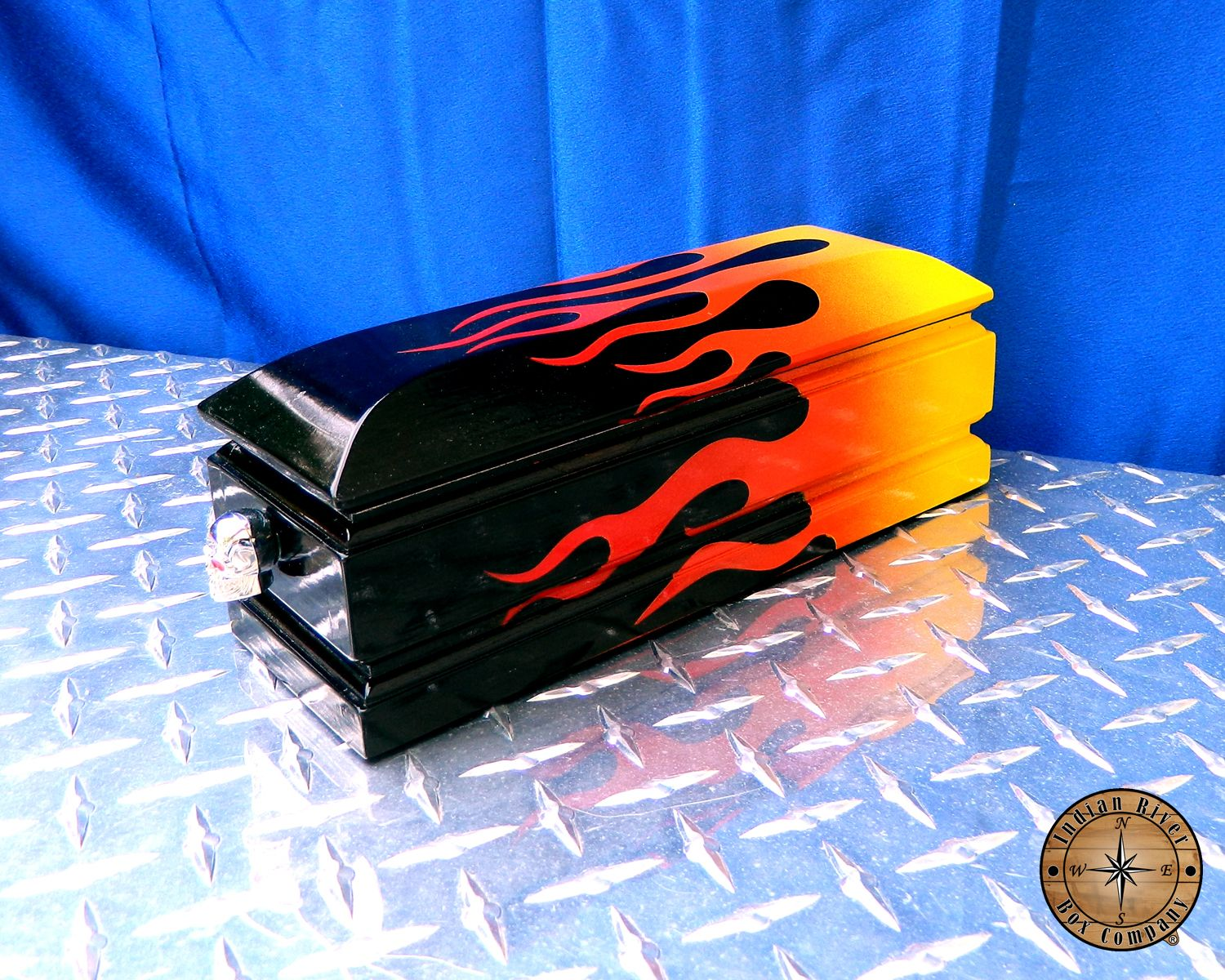 Indian River Box Company Coffin Box with old school hot rod flames ...