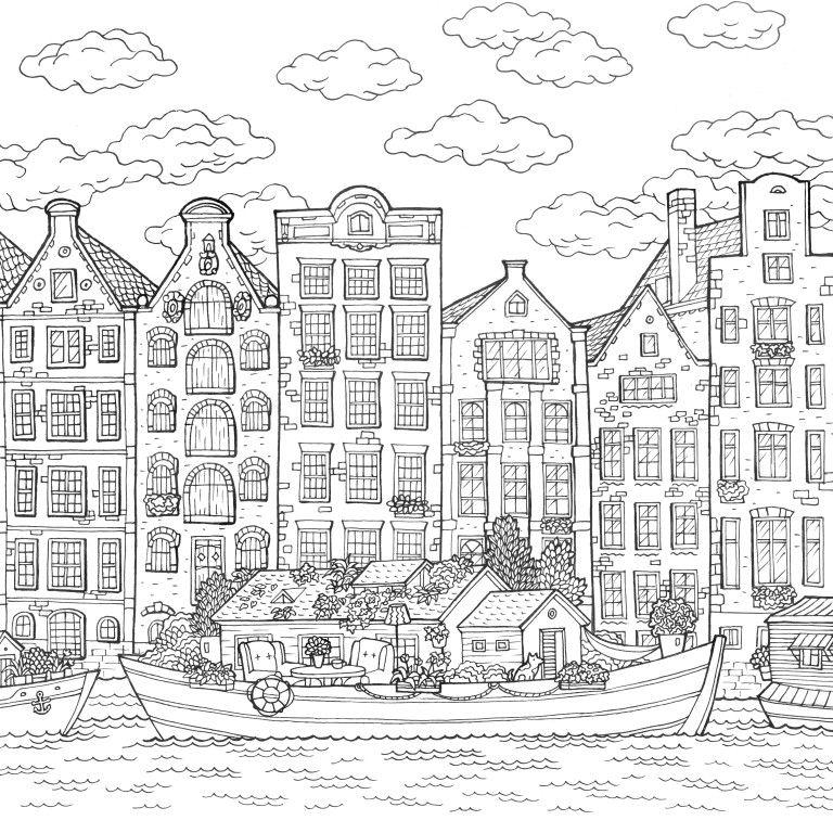 Amsterdam Colouring Page Com Imagens Desenhos