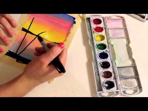 How To Paint A Sunset With Palm Trees In Watercolor By Mr Otter