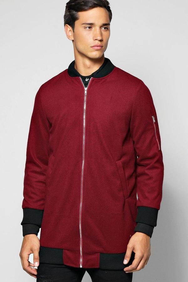 boohoo Longline Coat With MA1 Shoulder Zip