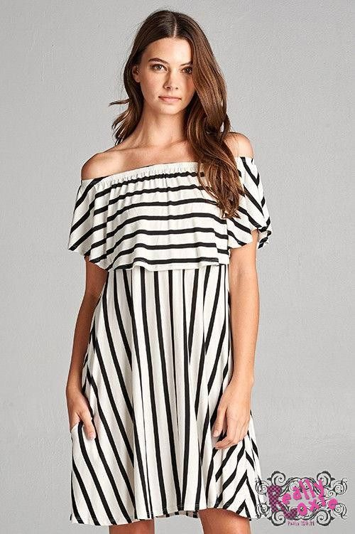 Striped On/Off Shoulder Dress