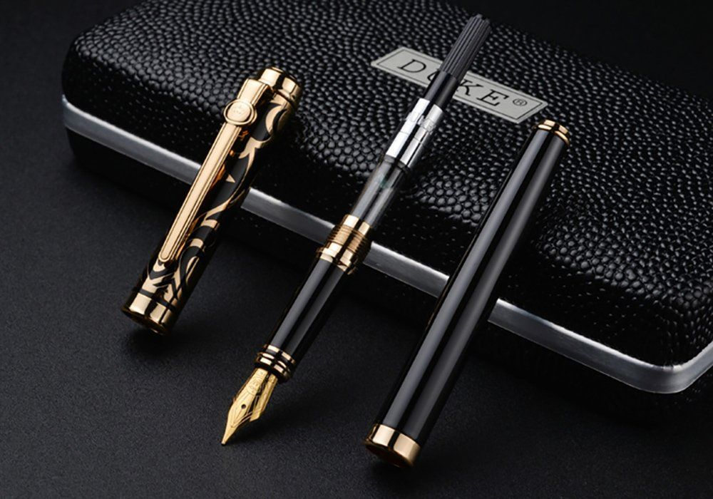 d817ceeb5967 Duke Sapphire Fountain Pen Gold Trim with 5 Black Ink Pen Cartridge and Ink  Refill Converter in Luxury Gift Box Set For Business Signature and  Collection ...