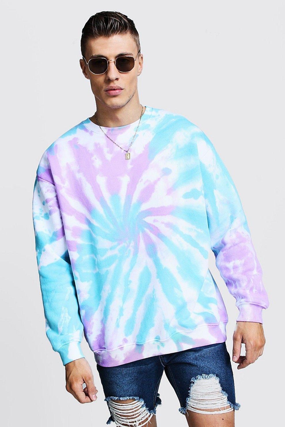 Tie Dye Oversized Sweatshirt Boohooman Moda Tie Dye Como Fazer Roupas Roupas Tie Dye [ 1485 x 990 Pixel ]