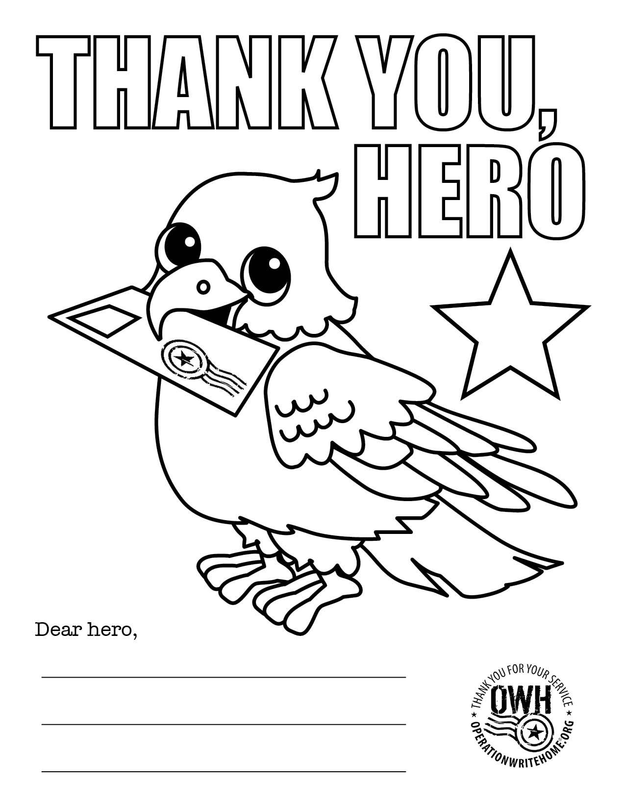 Coloring Pages For Hero Mail  Operation Write Home  Daisy Scouts