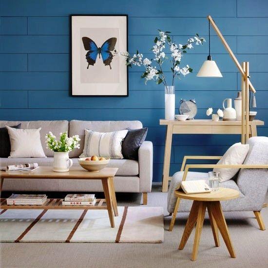 blaue akzente wandgestaltung wohnzimmer mit tapeten | Ideas For Your ...