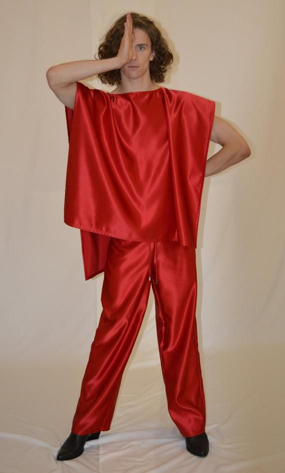 Red duchess satin trousers