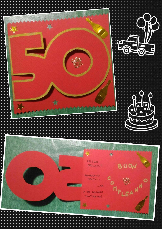 Biglietto Auguri Compleanno 50 Anni Uomo Rosso Oro Biglietti Fai