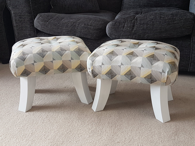Pair Of Footstools Wedding Footstool Gift Idea Small Foot Stool Upholstered Foot Stool Handmade Foo