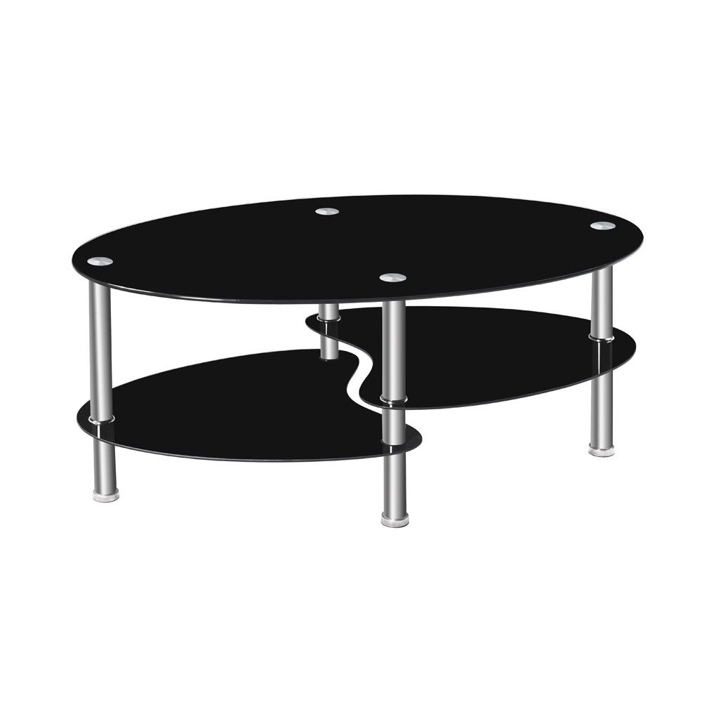 Black Coffee Table Dual Fishtail Style Tempered Glass Oval Tea