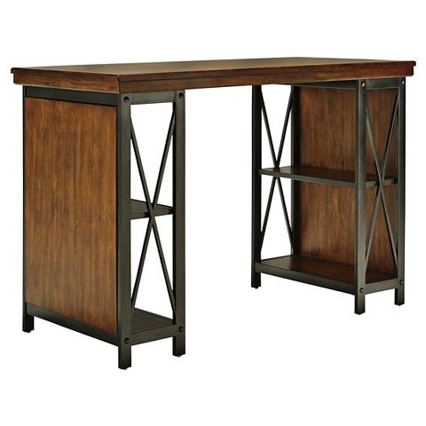 Shayneville Home Office Counter Large Desk Rustic Brown - Ashley ...