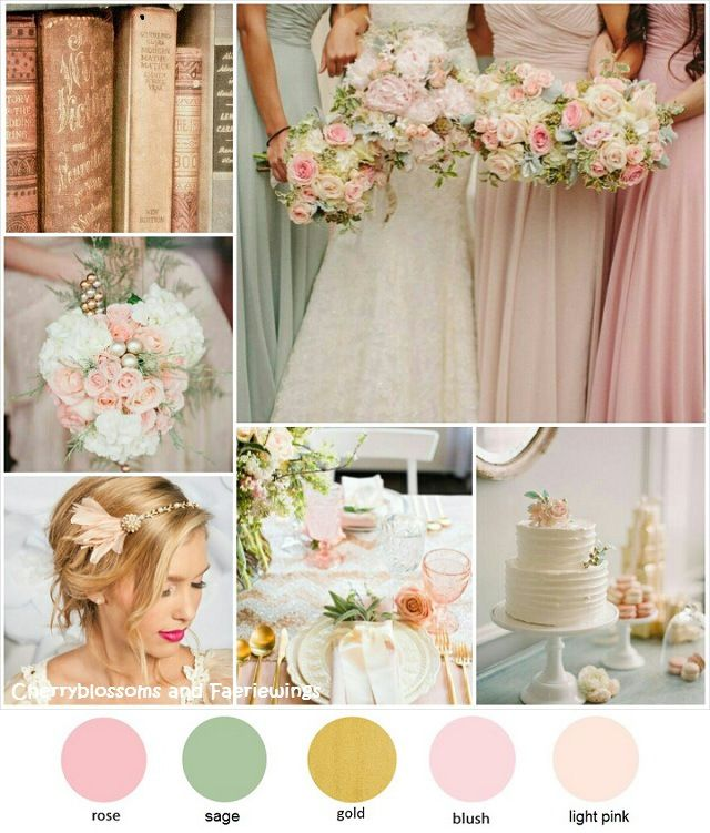 25 Best Ideas About Champagne Colored Wedding Dresses On: Rose + Gold + Sage Wedding
