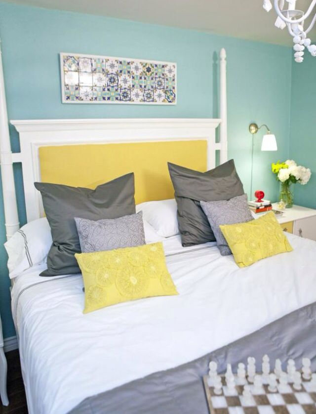 Grey Teal White And Yellow The Colour Theme For My New Bedroom