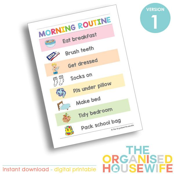Kids Routine Charts  Morning  Morning Routine Chart Routine