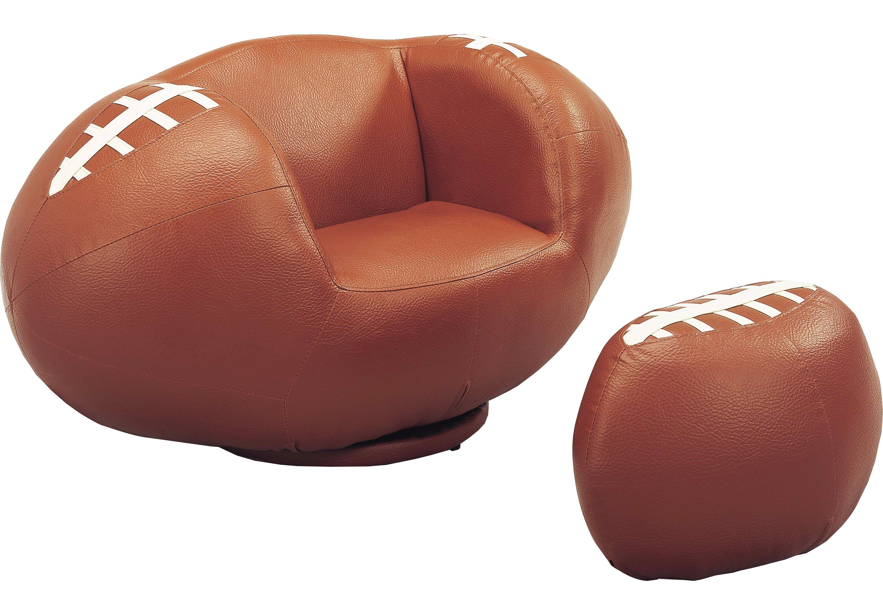 Sport Brown Football Chair And Ottoman Seating Brown