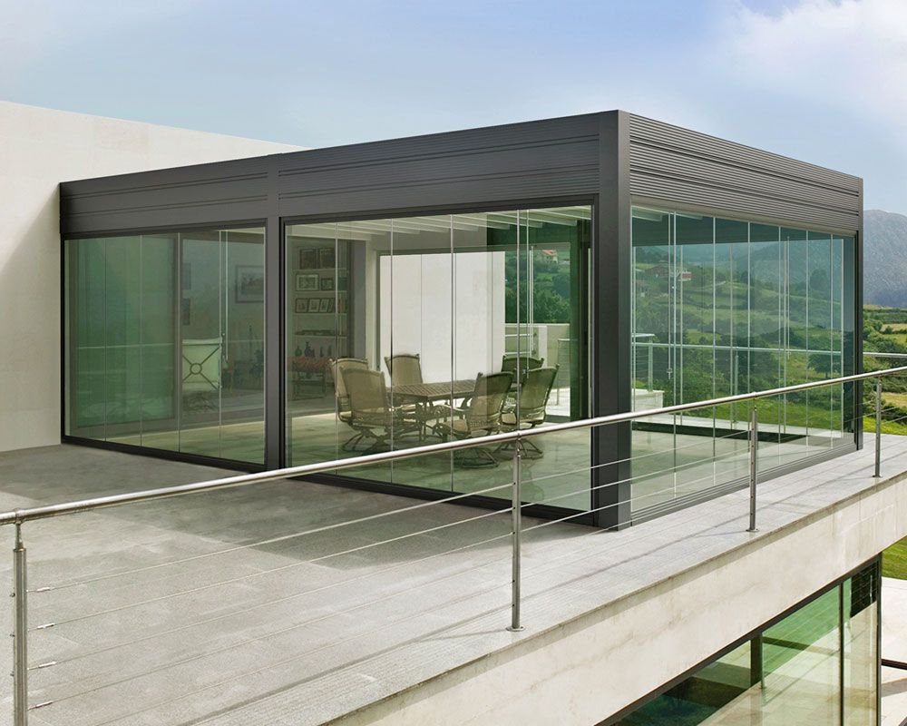 Gibus - Med Room - Fabric retractable roof (ability to add LED lighting sliding glass doors or outdoor blinds) & Gibus - Med Room - Fabric retractable roof (ability to add LED ...