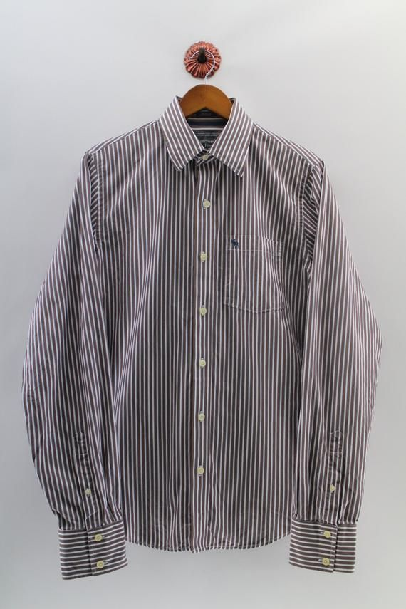 ABERCROMBIE And Fitch Oxford Medium Cotton Striped Western