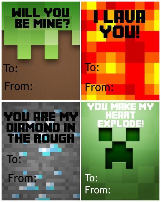 Free Printable Minecraft Valentine S Day Cards Valentines Ideas