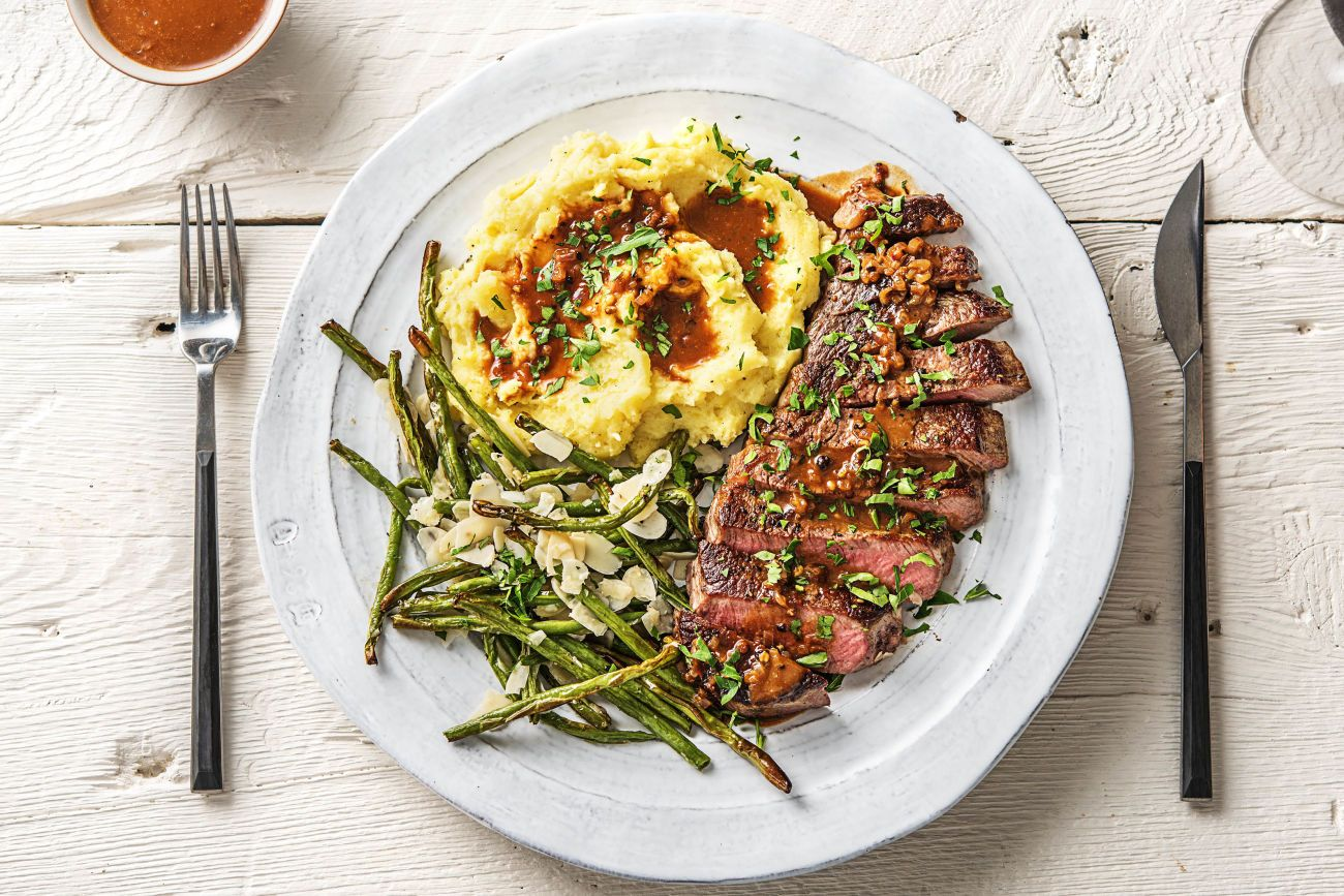 Amandine Porn Dijon 20 oz rib-eye steaks over truffled mashed potatoes with green beans amandine