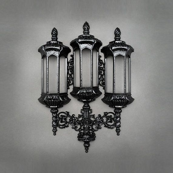 Ornate Black Wall Pocket Sconce - Black Glossy Floral ... on Pocket Wall Sconce For Flowers id=75455