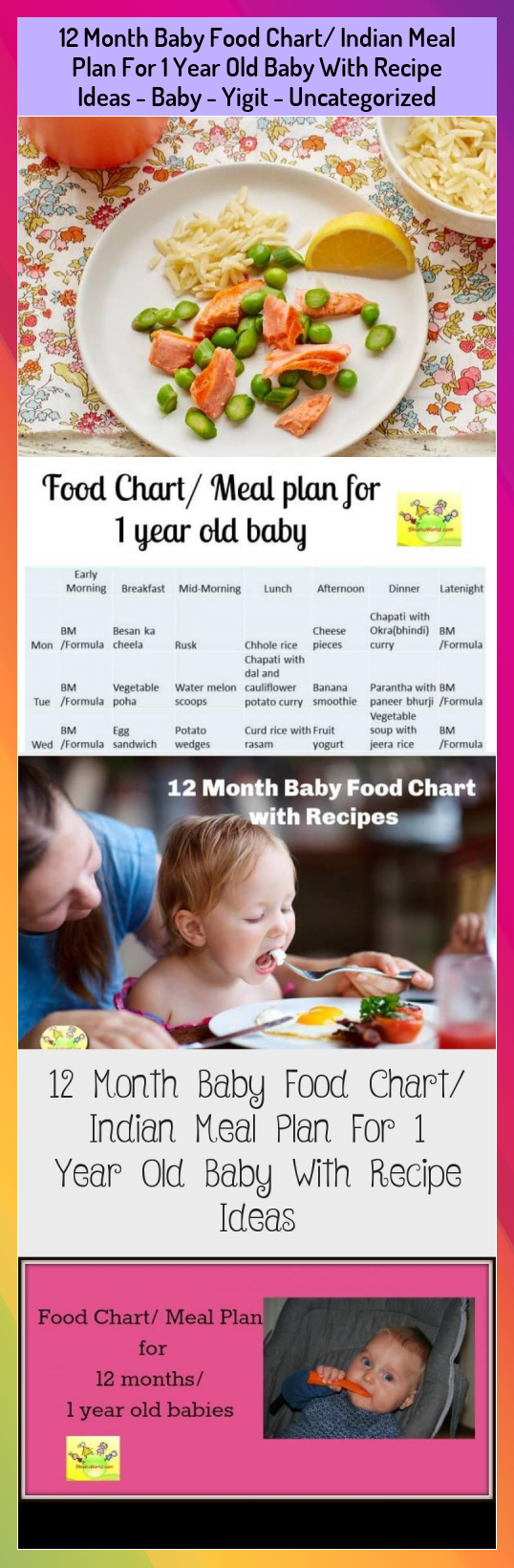 12 Month Baby Food Chart Indian Meal Plan For 1 Year Old Baby With Recipe Ideas  Baby  Yigit  Uncategorized