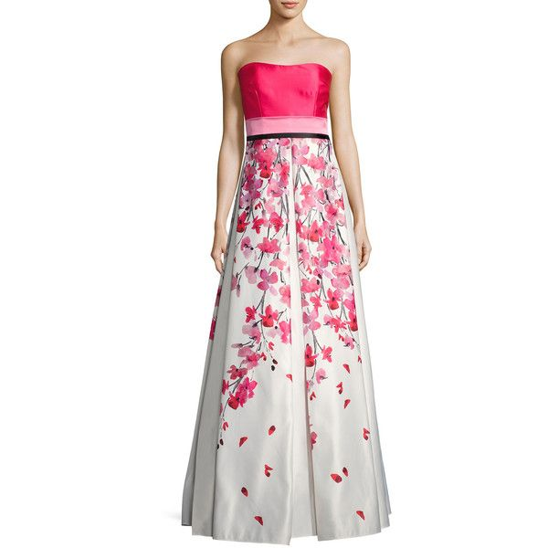 607fe43a0d0 David Meister Strapless Solid   Floral Satin Gown ( 895) ❤ liked on  Polyvore featuring