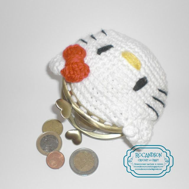 Monedero de Hello Kitty en crochet. Patrón gratis. | monederos a ...
