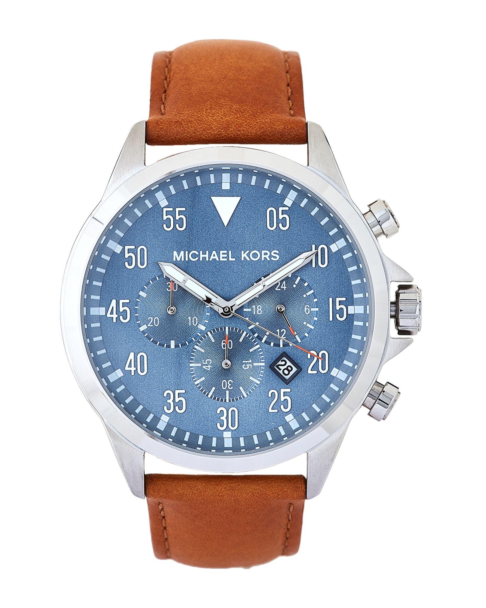 729ef79f6a55 Michael Kors MK8490 Blue   Tan Gage Leather Strap Watch