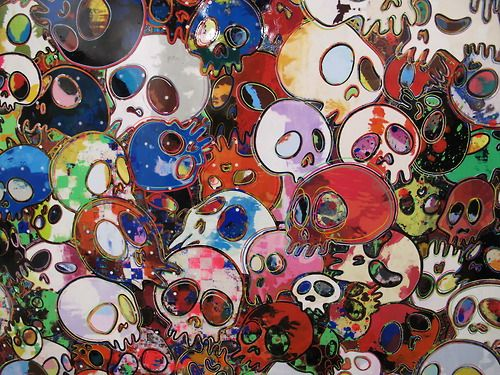 Takashi Murakami at Gagosian Gallery at this year's Art Basel in Switzerland. WGSN product shot, Art Basel 2012