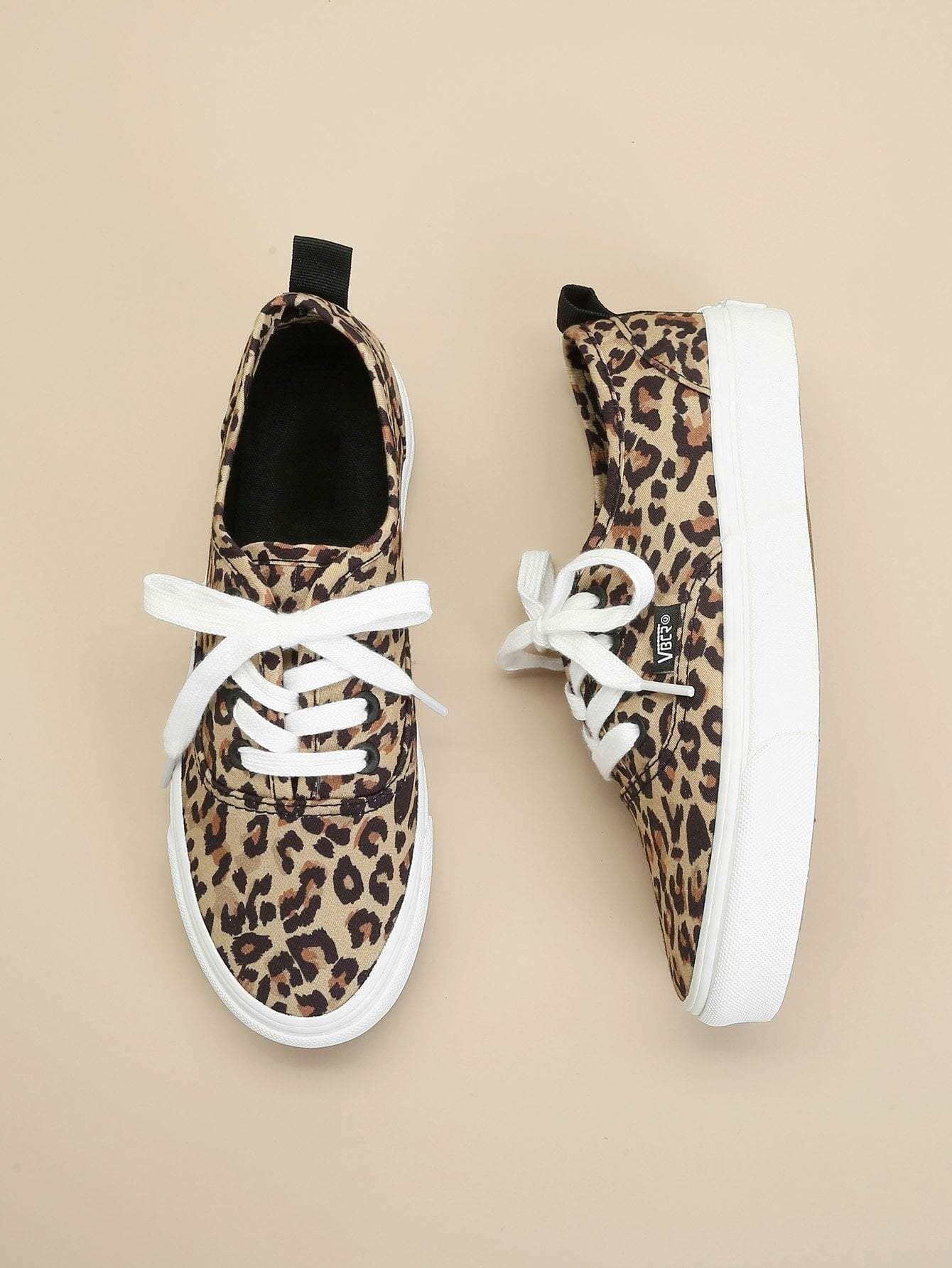 Leopard Lace-Up Sneakers   Leopard