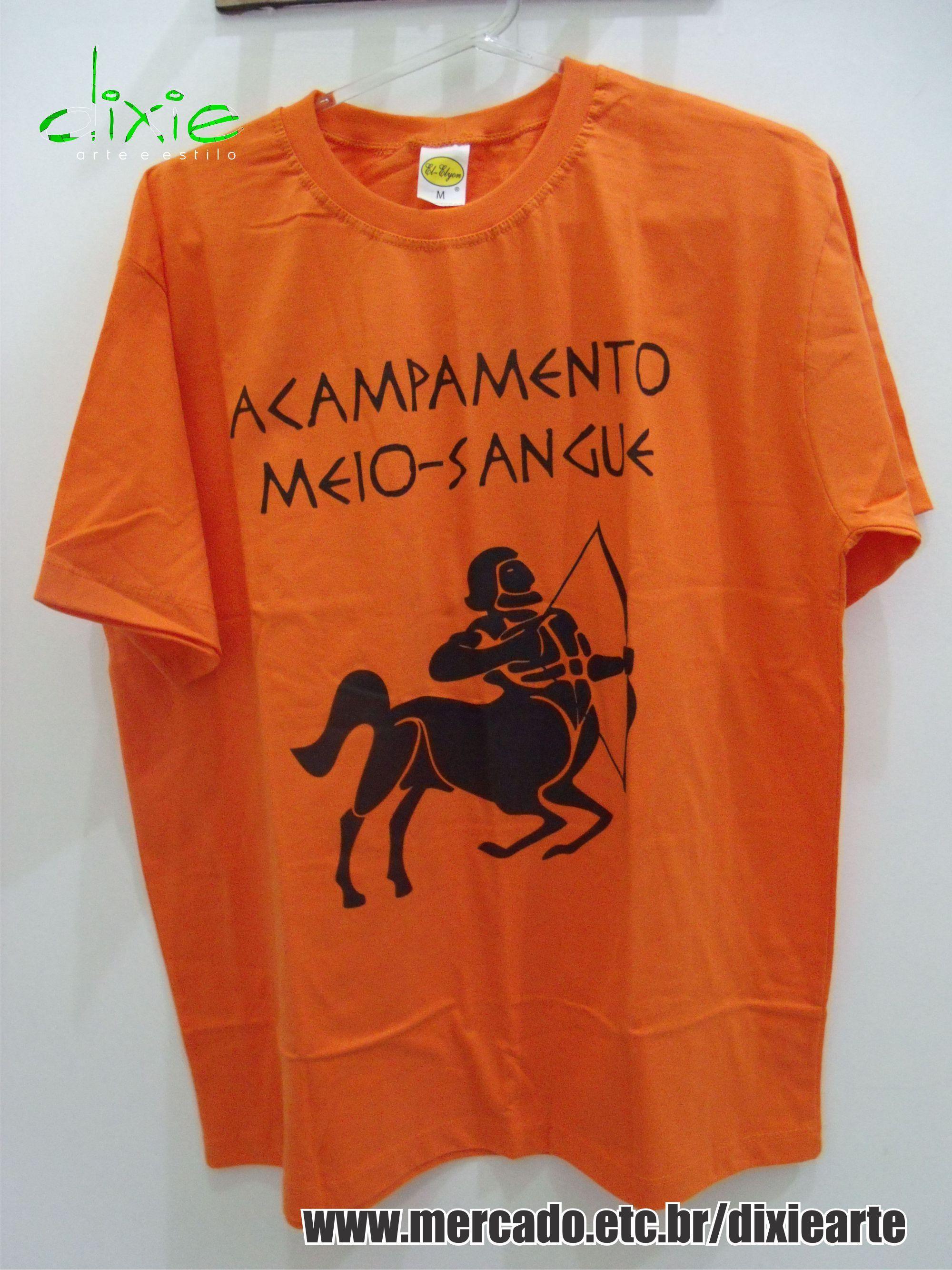 Camiseta Masculina Acampamento Meio Sangue Www Elo7 Com Br