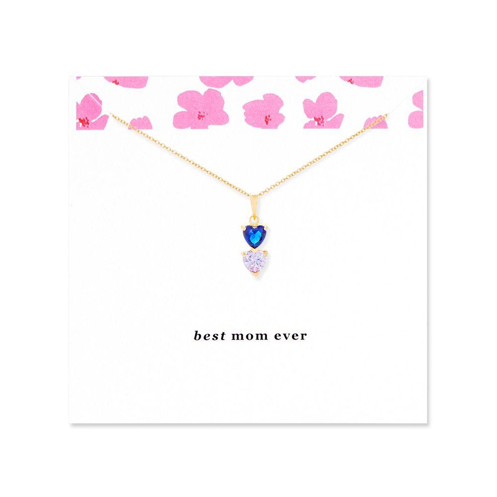 94ada1bfc6 Best Mom 2 Stone Custom Birthstone Gold Heart Drop Necklace | Dear ...