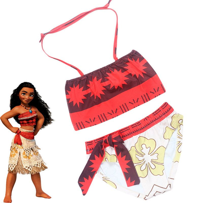 63247ae8d0 Click to Buy    2017 New Moana maui Cartoon dress Kids girl Bikini ...