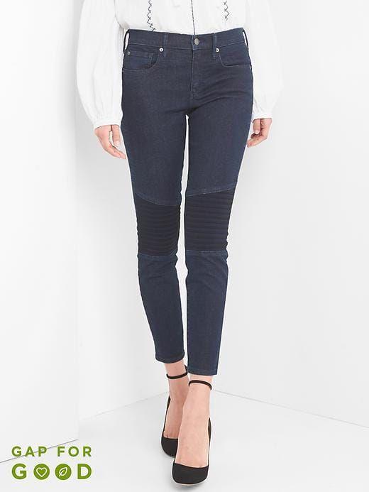 Gap Womens Mid Rise True Skinny Ankle Panel Jeans Dark Indigo Size 31