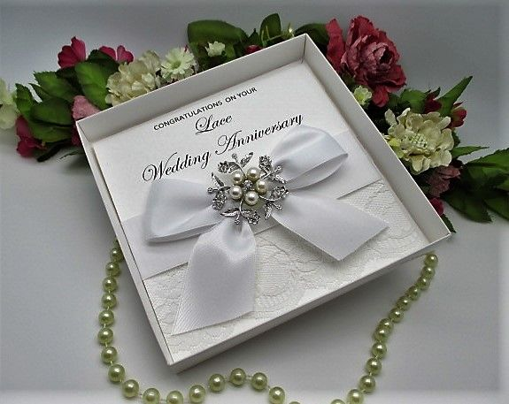 Lace13 boxed lace wedding anniversary card 13 years married