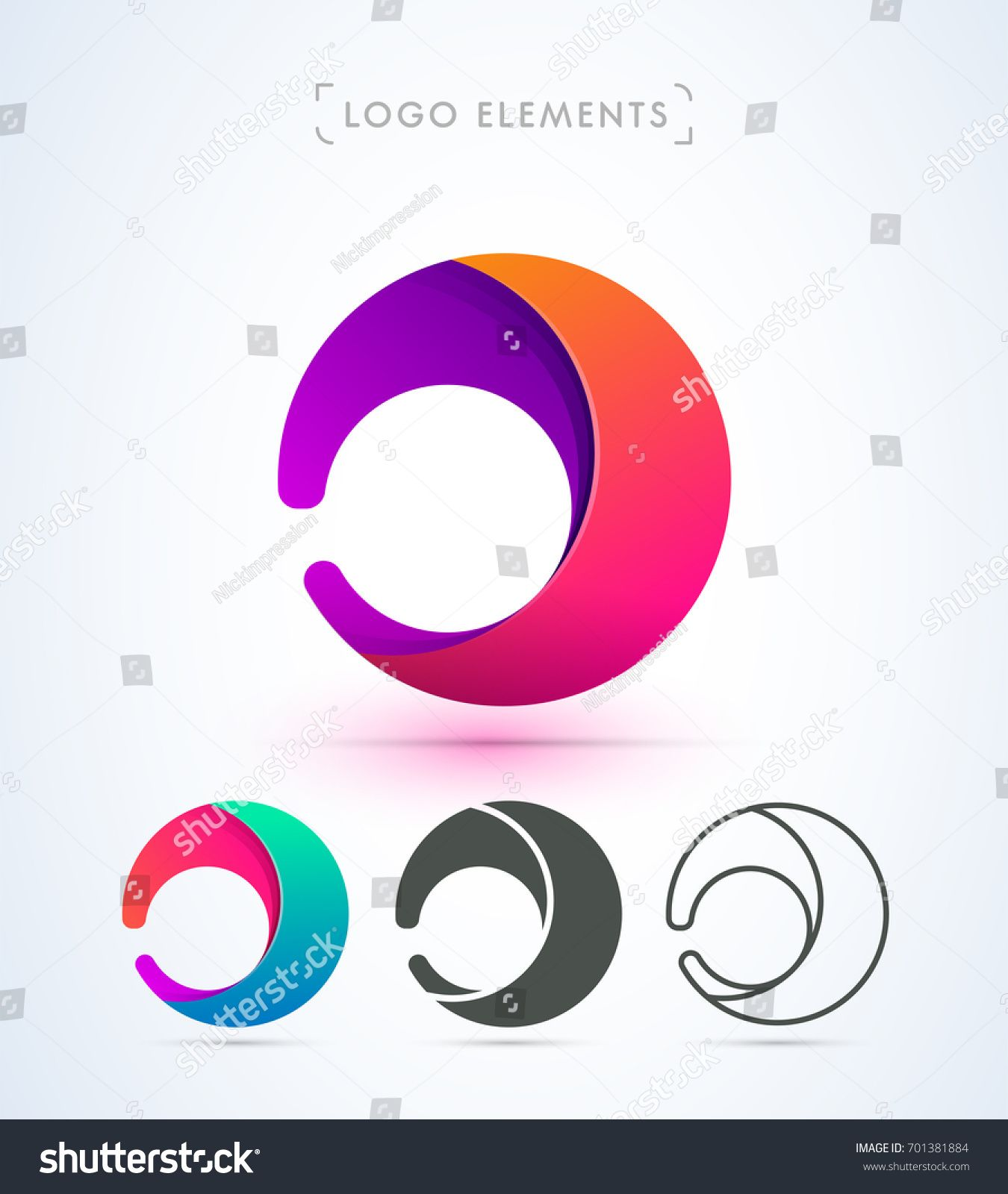 Vector Abstract Rounded Logo Letter J D C Material Design Set