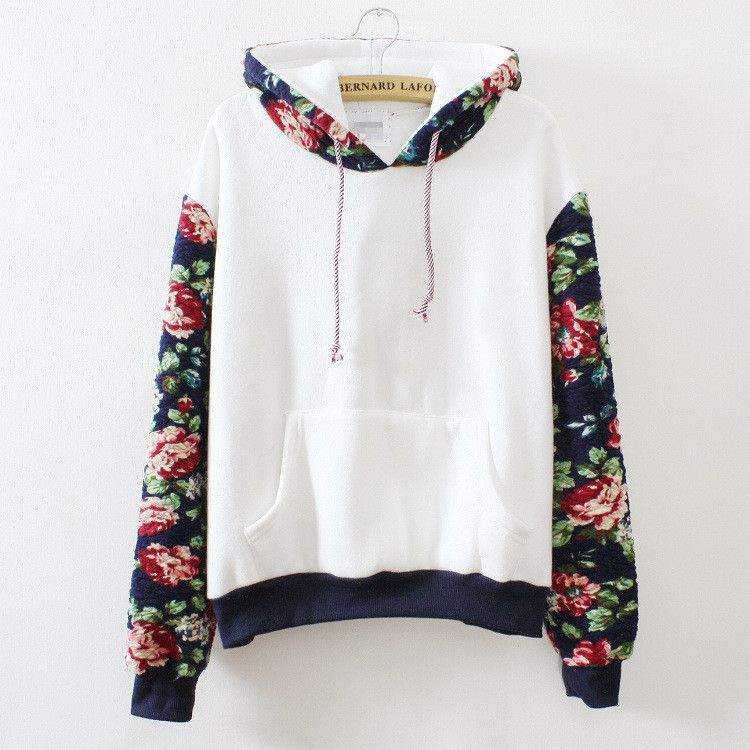 ddefaee0767 2016 Autumn Winter new Fashion loose pullover women s sweatershirt Harajuku  Retro solid color flowers sleeve Hoodie. White Hoodie with Rose Print More