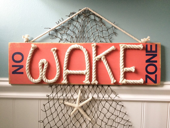 Distressed No Wake Zone sign nautical by highplainsknotwork