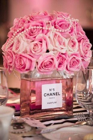 Glam Chanel Themed Bridal Shower Pink Bridal Shower Chanel Bridal Shower Bridal Shower Centerpieces