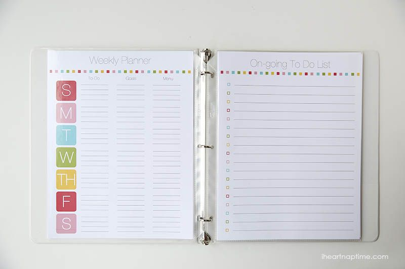 Free Printable Family Planner On IheartnaptimeCom  Includes