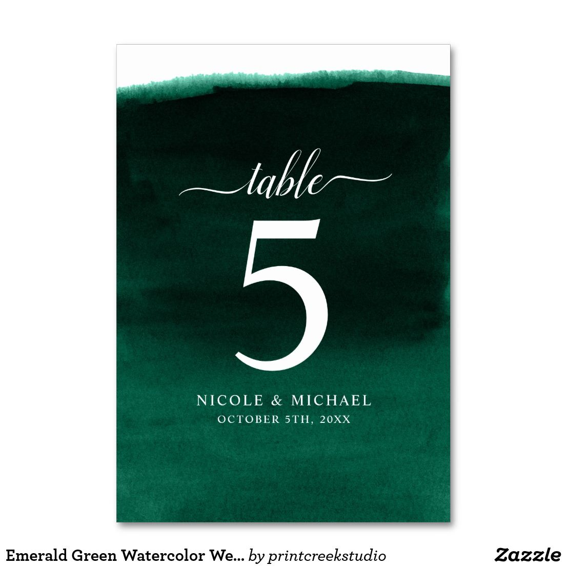 Emerald green watercolor wedding table number