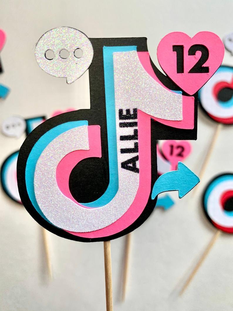 Tik Tok Tiktok Personalized Icons Cupcake Toppers Tik Tok Birthday Party Toppers Tiktok Social Media Theme Custom Name And Age In 2021 Party Topper Birthday Party Gift Diy Holiday Party