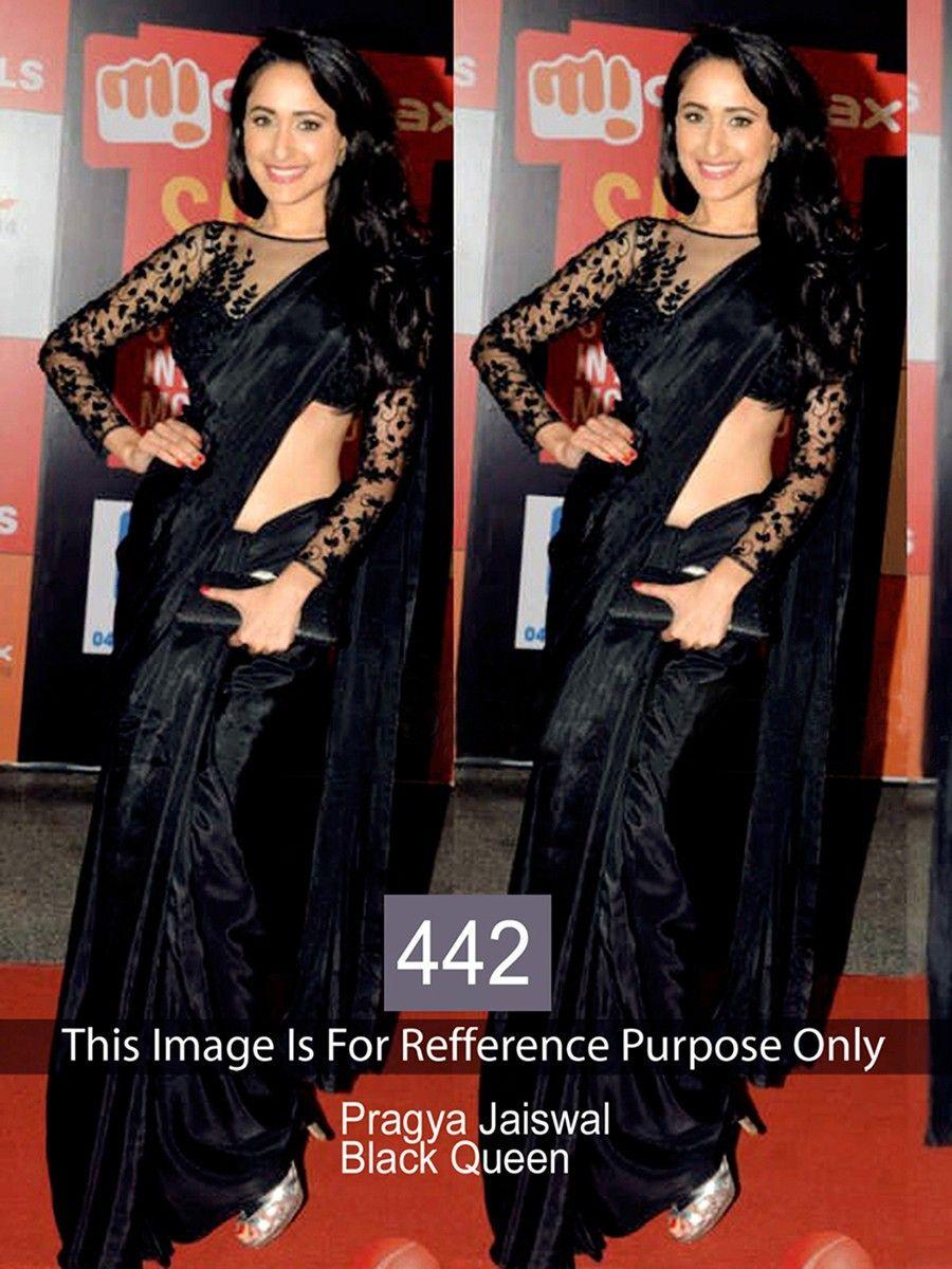 bfb2de1d0af74 Pragya Jaiswal Satin Black Plain Bollywood Designer Saree - 442BS