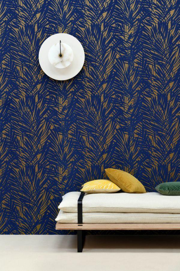 Palmeraie by Lelievre Blue / Gold Wallpaper 644203