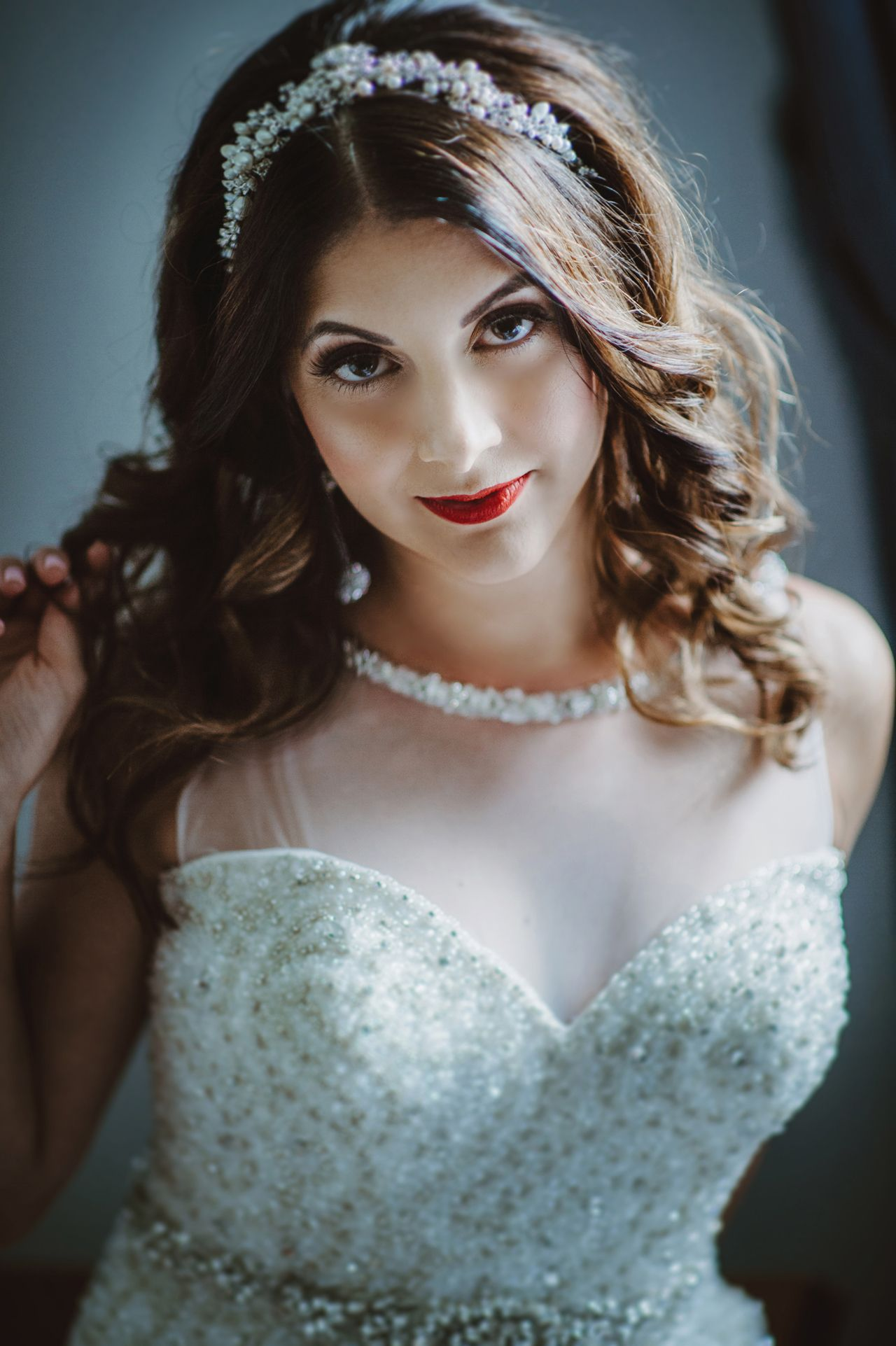 Bride Crystal Beaded Wedding Dress Makeup And Hair By