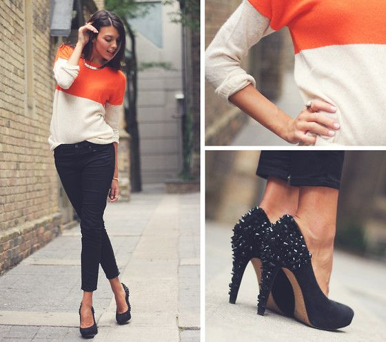 studded heels and color blocked sweater