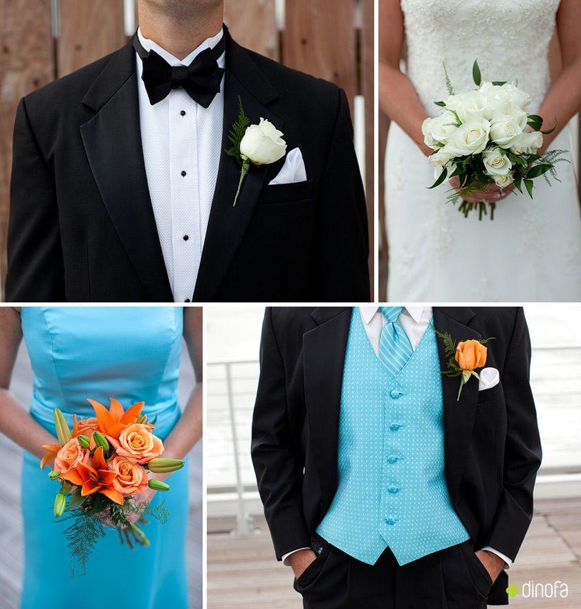Light Blue And Orange Wedding Colors