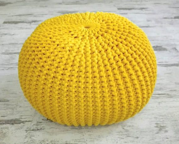 Knitted Pouf Colours Yellow Seat Crochet Pouf Ottoman Sandy Bits New Yellow Knit Pouf