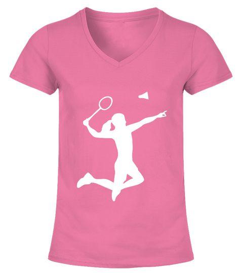 3baf0b45 BADMINTON WOMAN GIRL TSHIRT V-neck T-Shirt Woman badminton t shirt design,