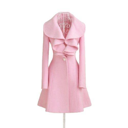 Women Pink Fit Trench Coat Long Wool Blend Jacket Parka Fashion Girl Slim Outwear (L, Pink)