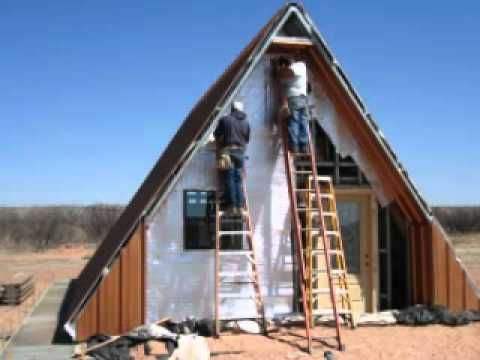 A frame cabin house youtube check out the sides of the a for Steel frame cabin